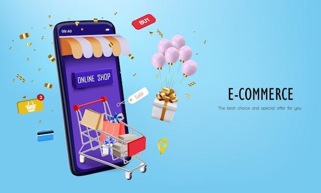 Roze ballon met kar en smartphone om online te winkelen