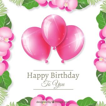 Roze ballonnen gelukkige verjaardag achtergrond