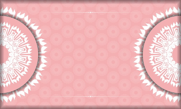 Roze banner met mandala wit ornament en plaats voor uw logo of tekst