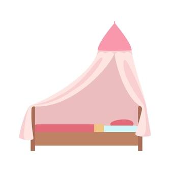 Roze bed voor kinderen half plat item. slaapkamer interieur meubilair.