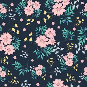Roze, blauw en geel bloem naadloos patroon