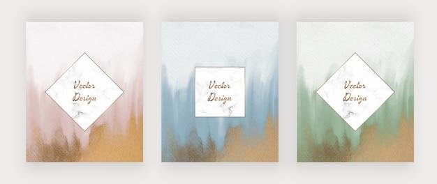 Roze, blauwe en groene penseelstreekwaterverf met gouden glittertextuur en marmeren lijsten