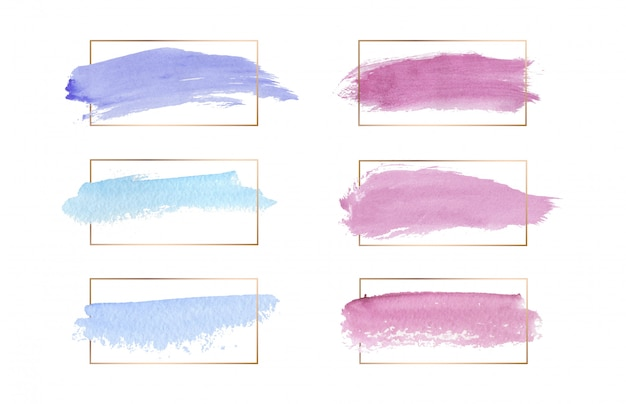 Roze, blauwe en paarse kleuren penseelstreek aquarel textuur met gouden lijnen frames.