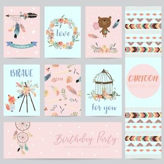Roze, blauwe kaarten voor banners, flyers, posters met veren, beer, wild, krans en kooi