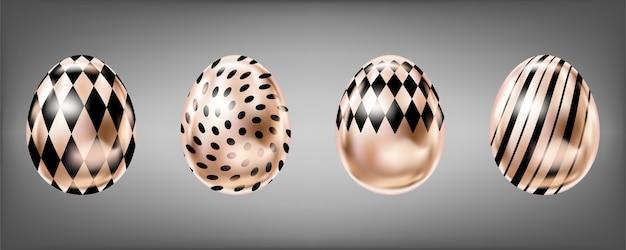 Roze blik eieren met zwarte stippen