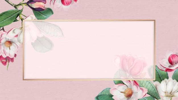Roze bloeiend bloemenframe Gratis Vector
