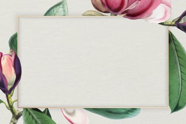 Roze bloeiende bloemen frame vector