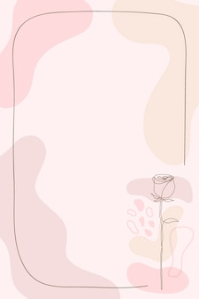 Roze bloem frame achtergrond in vrouwelijke stijl vector