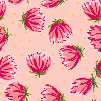 Roze bloem getekende vector naadloze patroon. bloesem abstract behang. rode en blauwe tuin tekening illustratie. lotus lichte achtergrond.