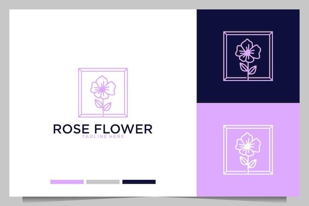Roze bloem met frame vrouwelijk logo-ontwerp