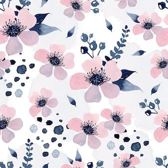 Roze bloemen aquarel naadloos patroonbehang