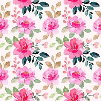 Roze bloemen aquarel naadloze patroon