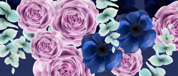 Roze bloemen aquarel. vintage retro stijl bruiloft uitnodiging of groeten