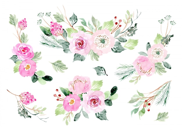 Roze bloemen arrangement aquarel collectie