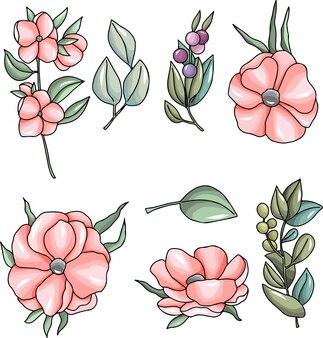 Roze bloemen en bladerenillustratie