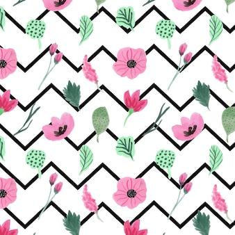 Roze bloemen en chevron naadloos patroon