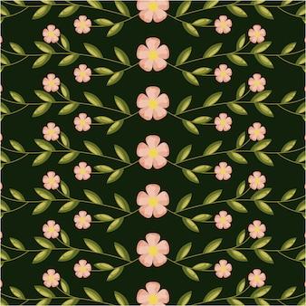 Roze bloemen en groene bladeren, patroonillustratie