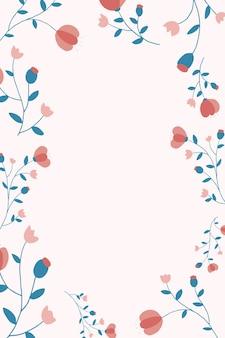 Roze bloemen frame achtergrond vector vrouwelijke stijl