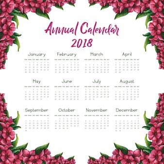 Roze bloemen kalender 2018