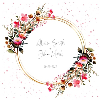 Roze bloemen krans aquarel met gouden frame