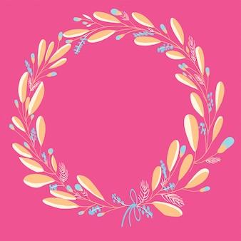 Roze bloemen krans voor wenskaart