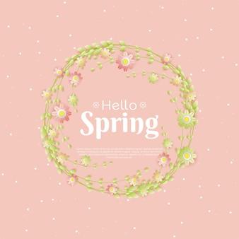 Roze bloemen lente achtergrond in papierstijl