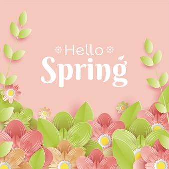 Roze bloemen lente achtergrond in papierstijl Premium Vector