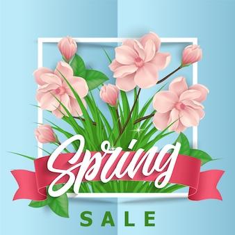 Roze bloemen lente verkoop achtergrond