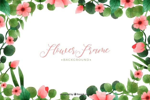 Roze bloemen met bladeren frame achtergrond