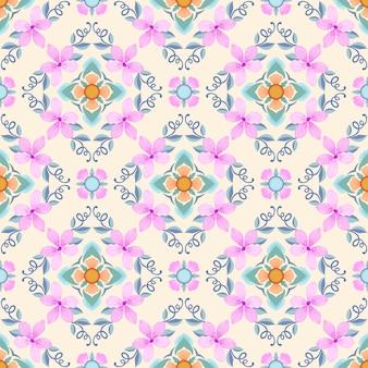 Roze bloemen met geometrisch vorm naadloos patroon.