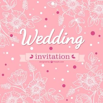 Roze bloemen trouwkaart