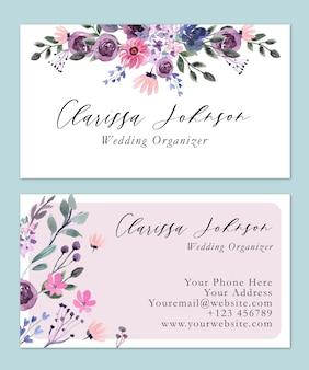 Roze bloemen zachte en eenvoudige aquarel naamkaart