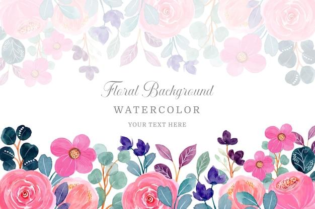 Roze bloemenachtergrond met waterverf