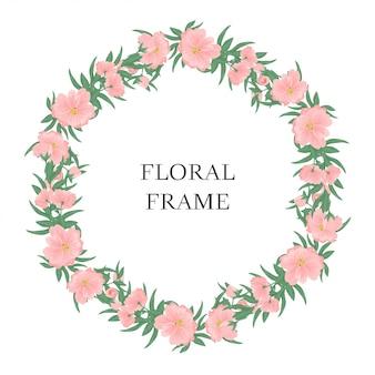 Roze bloemencirkelframe