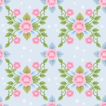 Roze bloemendamast naadloze patroon.