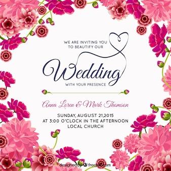 Roze bloemenhuwelijksuitnodiging