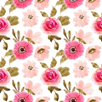 Roze bloemenwaterverf naadloos patroon