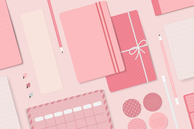 Roze briefpapier planner set