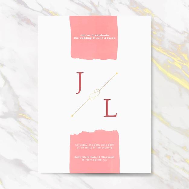 Roze bruiloft uitnodiging kaart vector