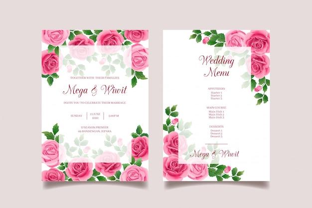 Roze bruiloft uitnodigingskaart