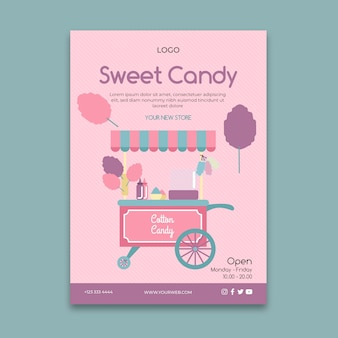 Roze candy bar business poster sjabloon
