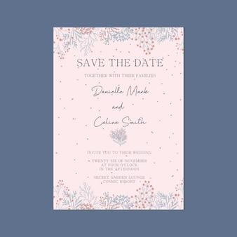 Roze capricieus, sparen de kaart van de uitnodiging van het huwelijk van de datum