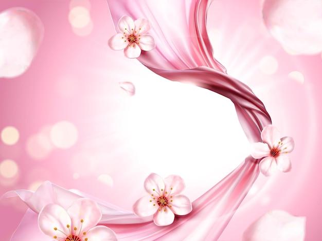 Roze chiffon elementen, vliegende doek op roze glinsterende achtergrond, sakura bloemblaadjes elementen
