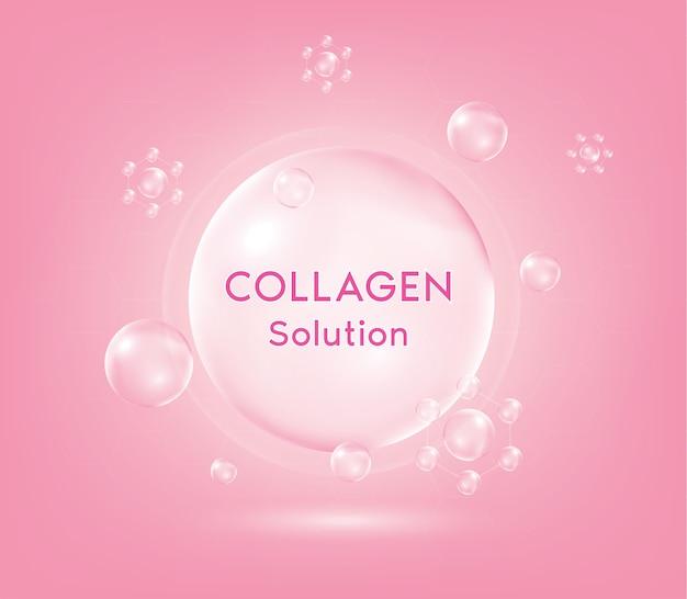 Roze collageen serum druppel met cosmetica. huidverstevigende voedingsdruppel. jonge gevoelige geïrriteerde huidreinigende moisturizer.