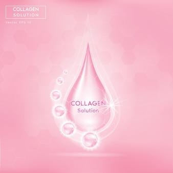 Roze collageen serum druppel met cosmetica. huidverstevigende voedingsdruppel.
