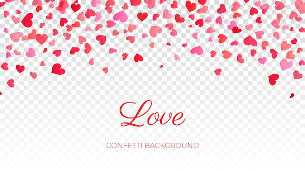 Roze confetti harten op transparant
