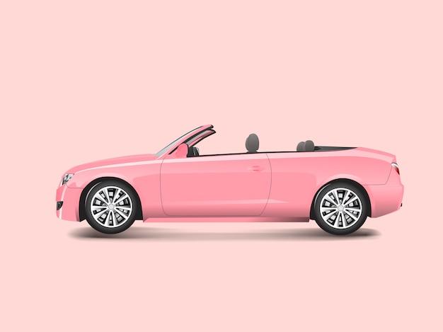 Roze convertibel in een roze vector als achtergrond