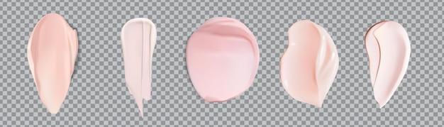 Roze crème uitstrijkjes staal set geïsoleerd. set van roze schuim cosmetica scheergel of crème