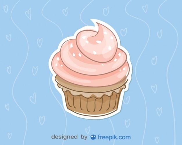 Roze cupcake op blauwe achtergrond vector illustratie