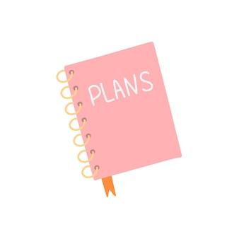Roze dagboek op ringen, vectorillustratie in vlakke stijl op witte achtergrond